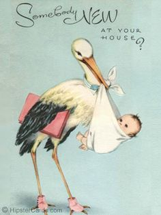 Vintage stork clipart picture ❥ sweet vintage baby card~ Stork Delivery | One Day Baby ... picture