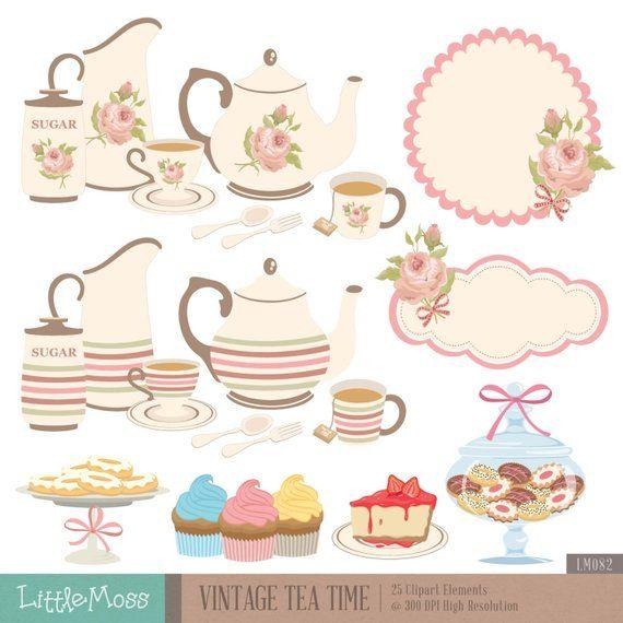 Vintage sugar jar clipart png library Vintage Tea Time Digital Clipart, Tea Party Clipart, Rose ... png library