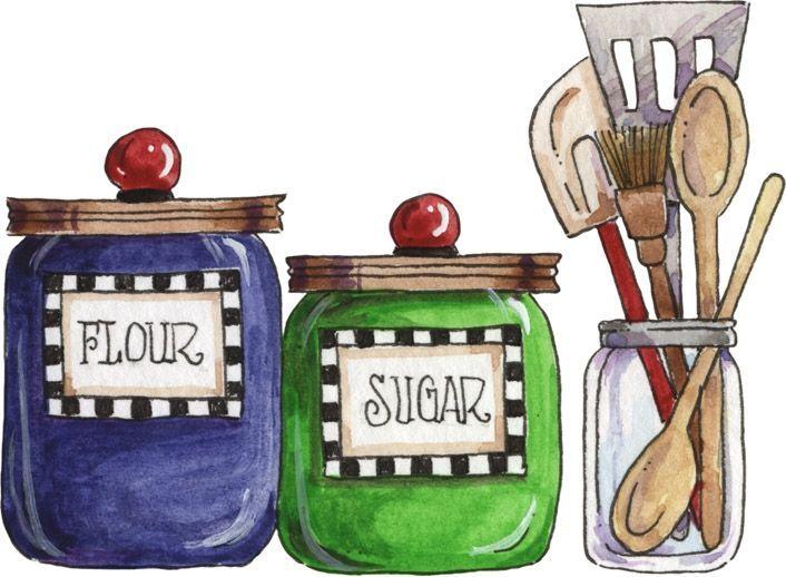 Vintage sugar jar clipart svg freeuse download Kitchen Baking Illustration - Flour Sugar Canisters Utensils ... svg freeuse download