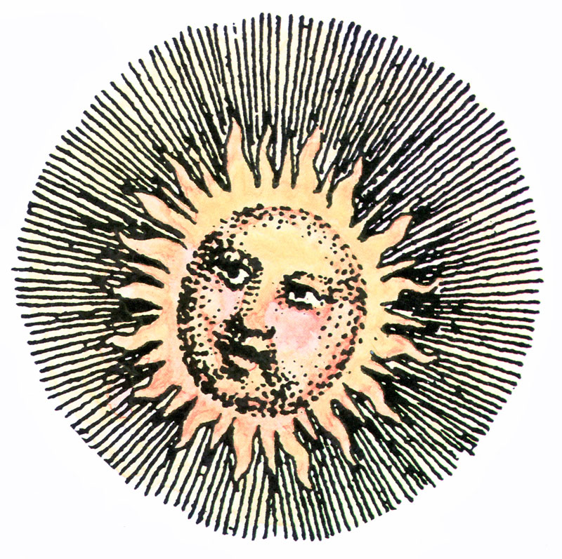 Vintage sun and hill clipart
