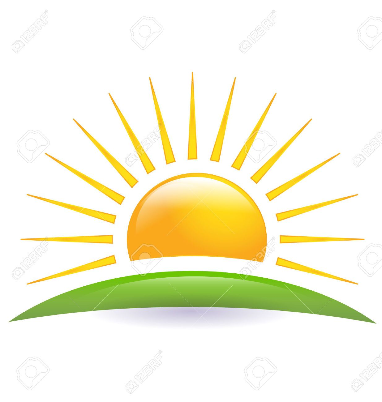 Vintage sun and hill clipart vector library Green hill with sun rays clipart - ClipartFest | farm ... vector library