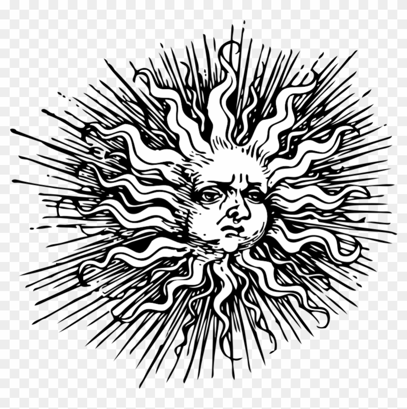 Vintage sun and hill clipart graphic black and white stock Vintage Sun Cliparts - Making-The-Web.com graphic black and white stock