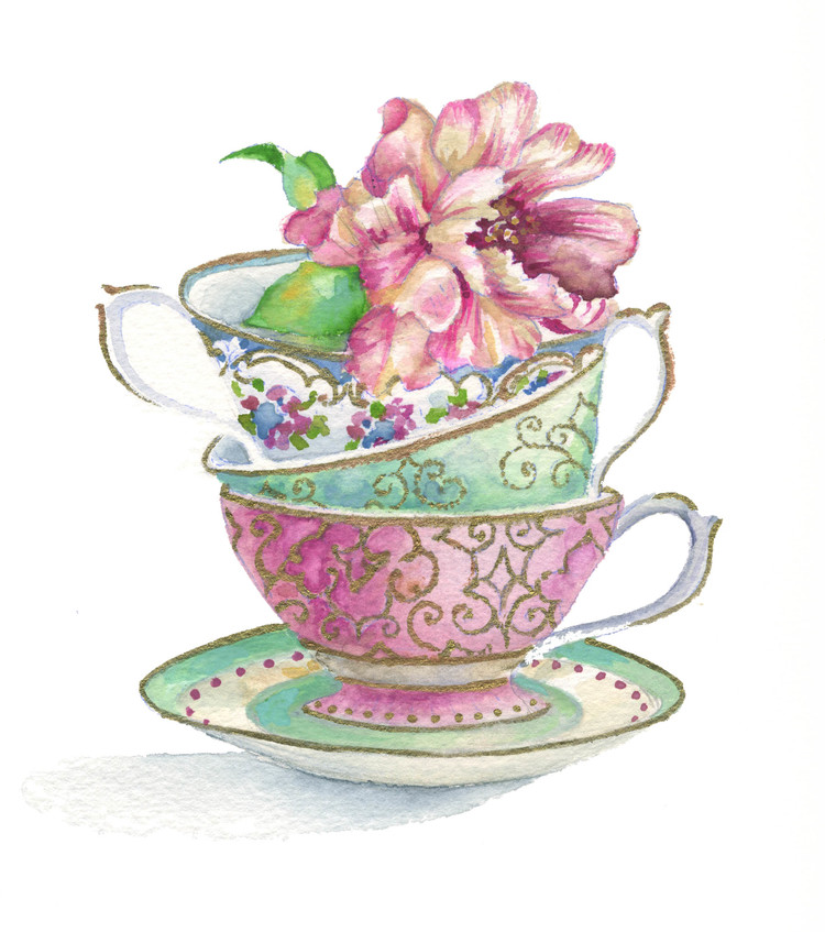Vintage teapot clipart banner freeuse stock Vintage Tea Cup Drawing at PaintingValley.com | Explore ... banner freeuse stock