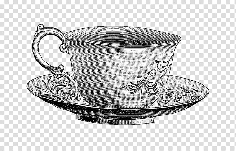 Vintage clipart tea clipart royalty free Gray floral teacup with saucer illustration, Teacup Saucer ... clipart royalty free
