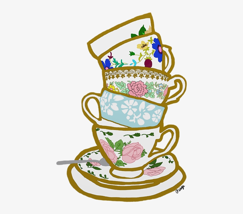 Vintage tea cup clipart background banner library Teacup Drawing Stacked - Vintage Tea Cups Clip Art PNG Image ... banner library