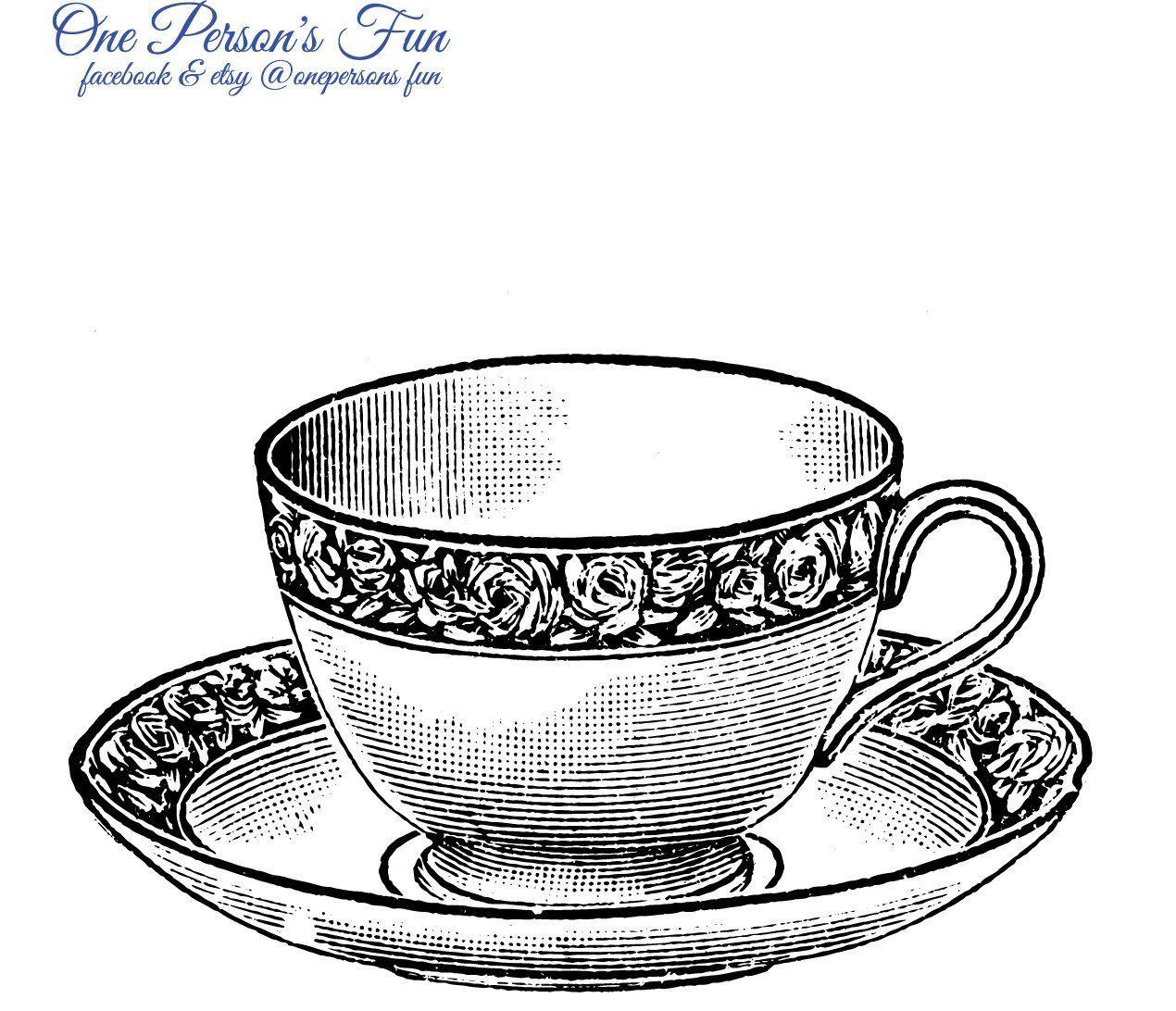 Vintage teacup clipart clip art black and white library Vintage Teacup Transparent PNG | vintage clip art | Tea cups ... clip art black and white library