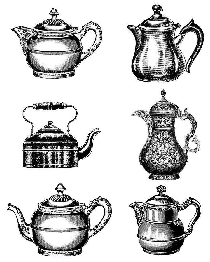 Vintage teapot clipart image royalty free 6 Vintage Teapots Clipart image royalty free
