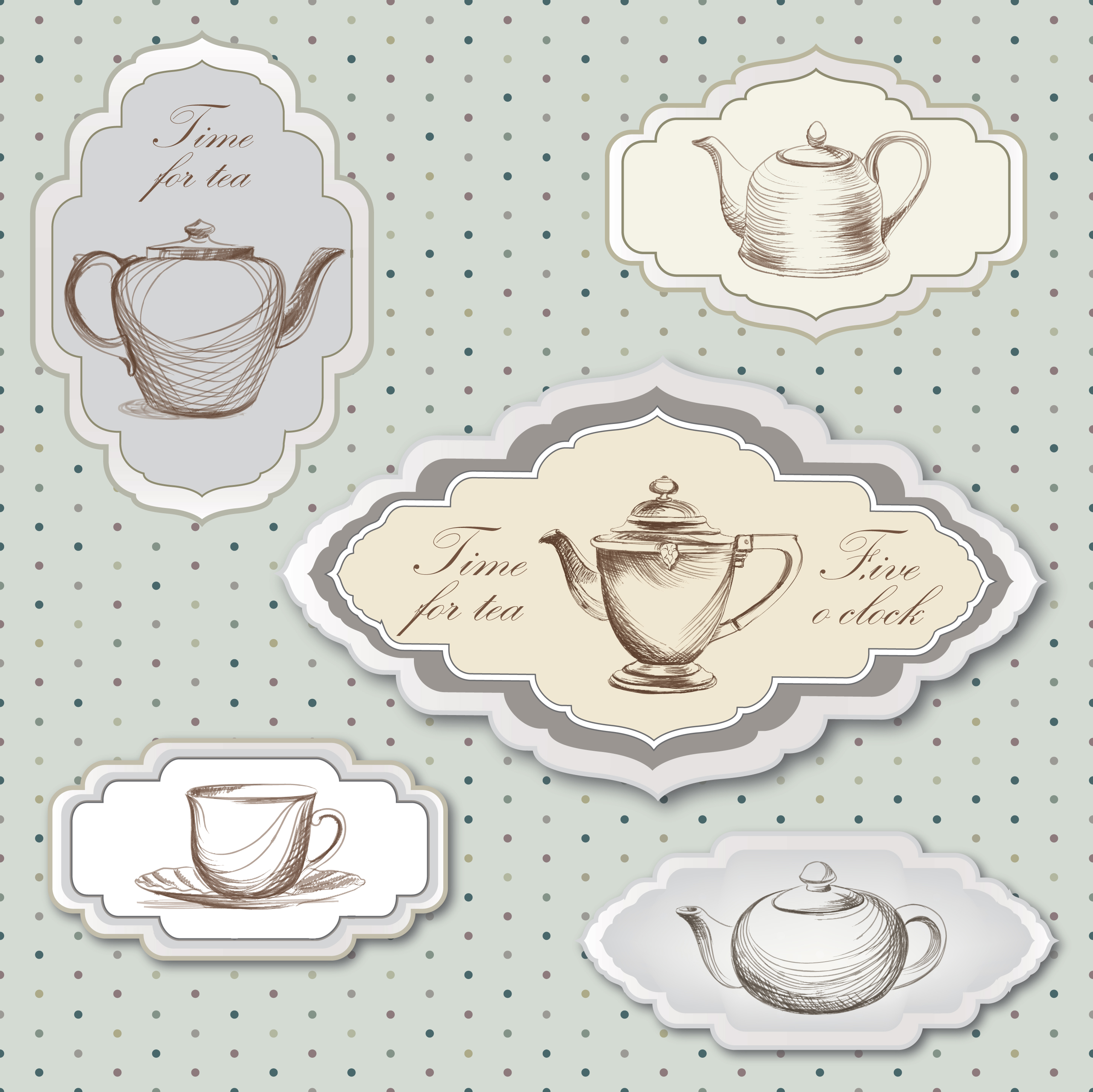 Vintage time card clipart free library Tea cup, pot, kettle retro card. Tea time vintage label set ... free library