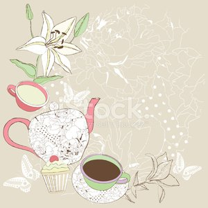 Vintage time card clipart royalty free stock Tea Time Card Vintage Invitation premium clipart ... royalty free stock