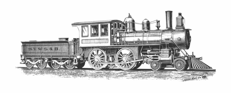 Vintage train engine clipart clipart freeuse download Steam Train Black And White , Png Download - Vintage Train ... clipart freeuse download