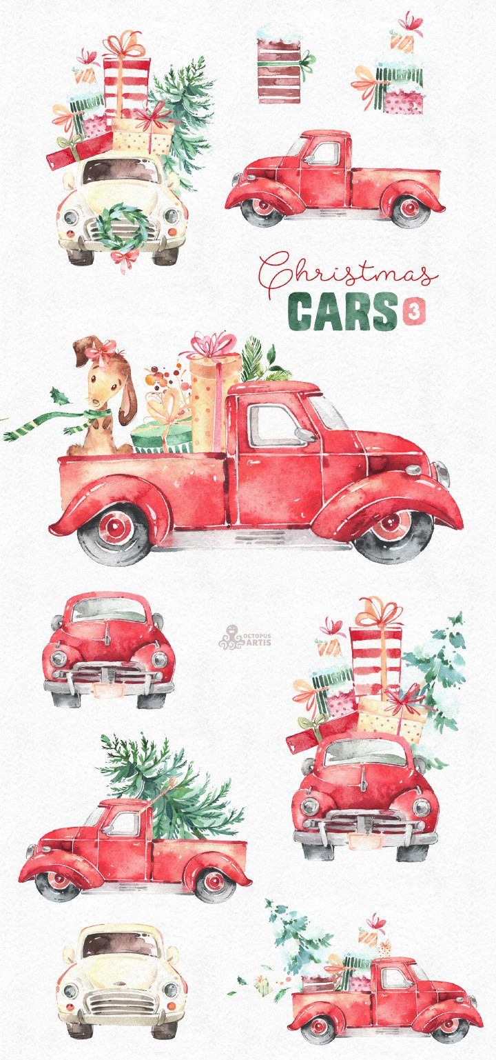 Vintage truck clipart christmas tre and presents graphic free stock Christmas Cars 3. Watercolor holiday clipart, vintage, retro ... graphic free stock