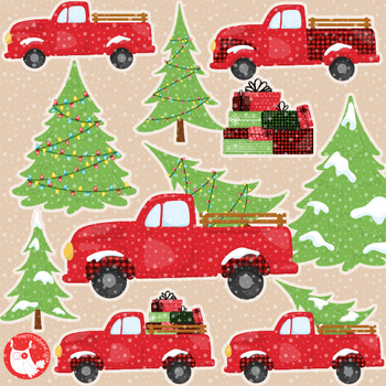 Vintage truck clipart christmas tre and presents svg free download Christmas vintage trucks clipart commercial use, graphics, digital - CL1198 svg free download