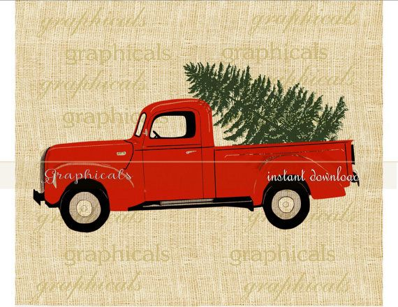 Vintage truck clipart christmas tre and presents picture stock Christmas red truck Tree Wreath printable art digital ... picture stock