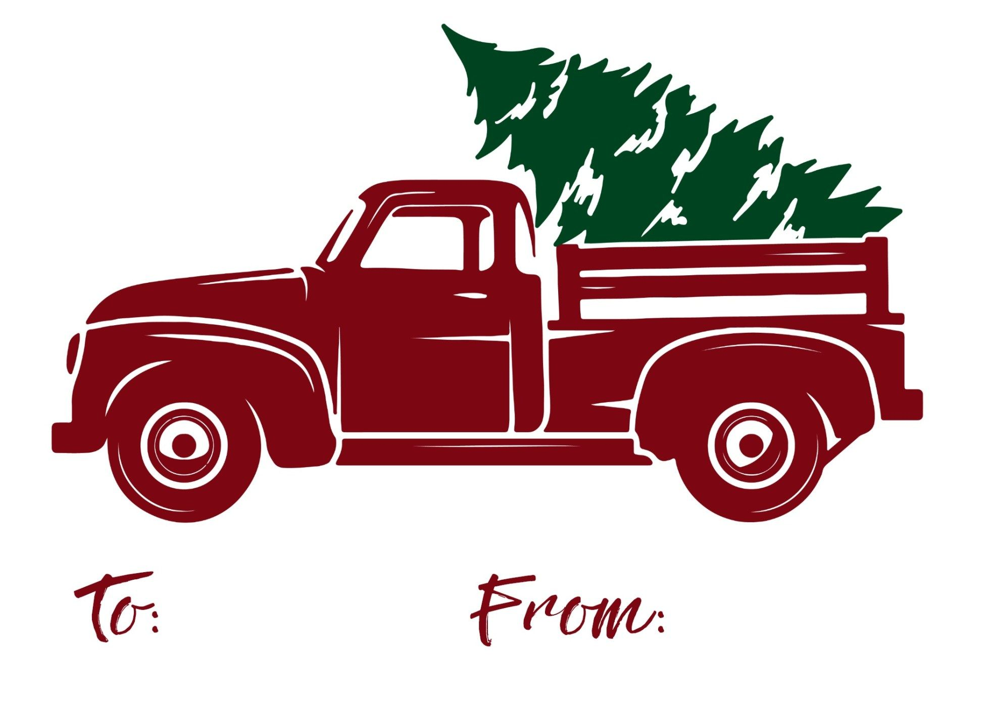 Vintage truck clipart christmas tre and presents download Free Printable Red Truck Christmas Gift Tags | pallet signs ... download