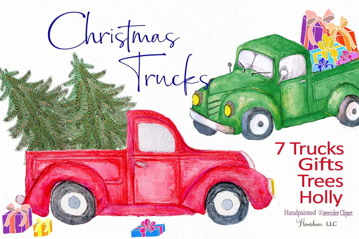 Vintage truck clipart christmas tre and presents black and white library Red Truck Clipart, watercolor black and white library