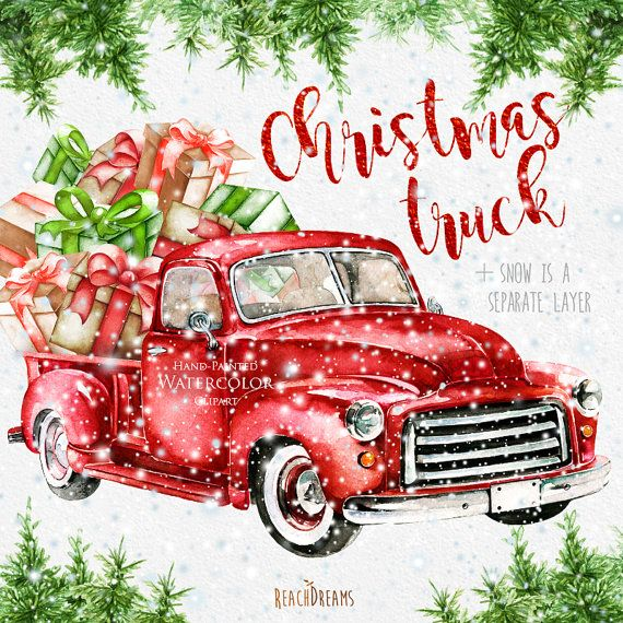 Vintage truck clipart christmas tre and presents clipart library Watercolor Christmas Truck, Vintage Red Pickup, Pine Tree ... clipart library