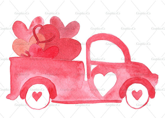 Vintage truck clipart with rake and dresser in truck bed vector transparent download Collection of 14 free Watercolor clipart valentine bill ... vector transparent download