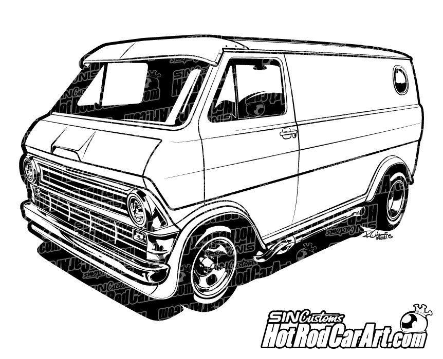 Vintage van clipart black image free 1974 Custom Ford Econoline Van - Clip Art | Automotive Clip ... image free