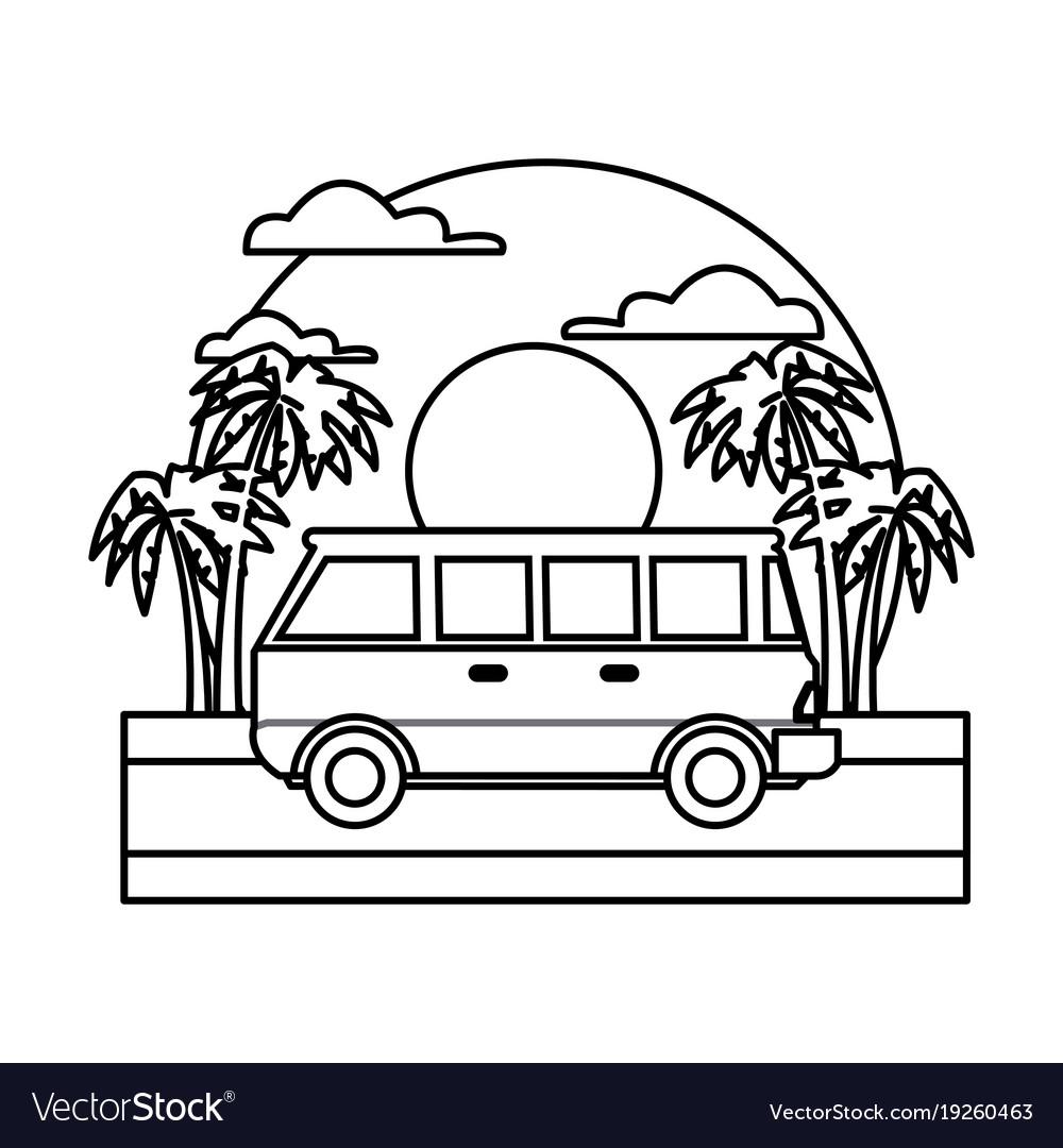 Vintage van clipart black graphic transparent download Vintage van vehicle on sunset landscape graphic transparent download