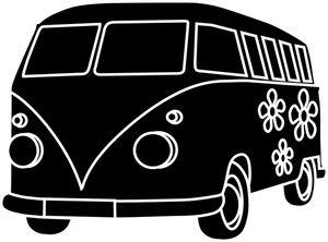 Vintage van clipart black graphic transparent download Van Clipart Image: A Groovy Hippie Bus or Van with Flower ... graphic transparent download
