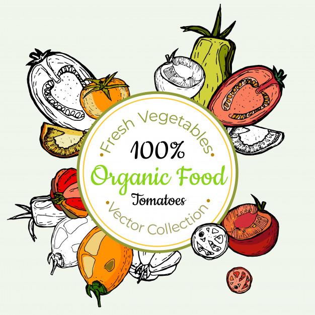 Vintage vegetable clipart color svg black and white Tomato vegetable groceries vintage label Vector | Premium ... svg black and white
