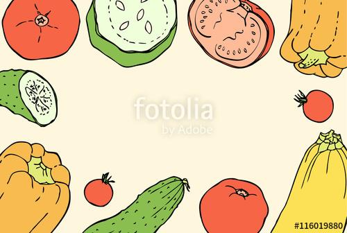 Vintage vegetable clipart color clip library download Vintage Colors Doodle Background with Peppers, Tomatoes ... clip library download
