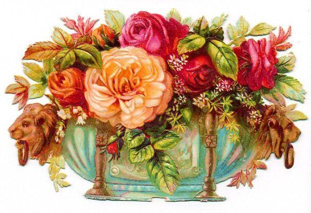 Vintage victorian flowers clipart jpg transparent library free #vintage #flower #clipart peach and pink cabbage roses ... jpg transparent library