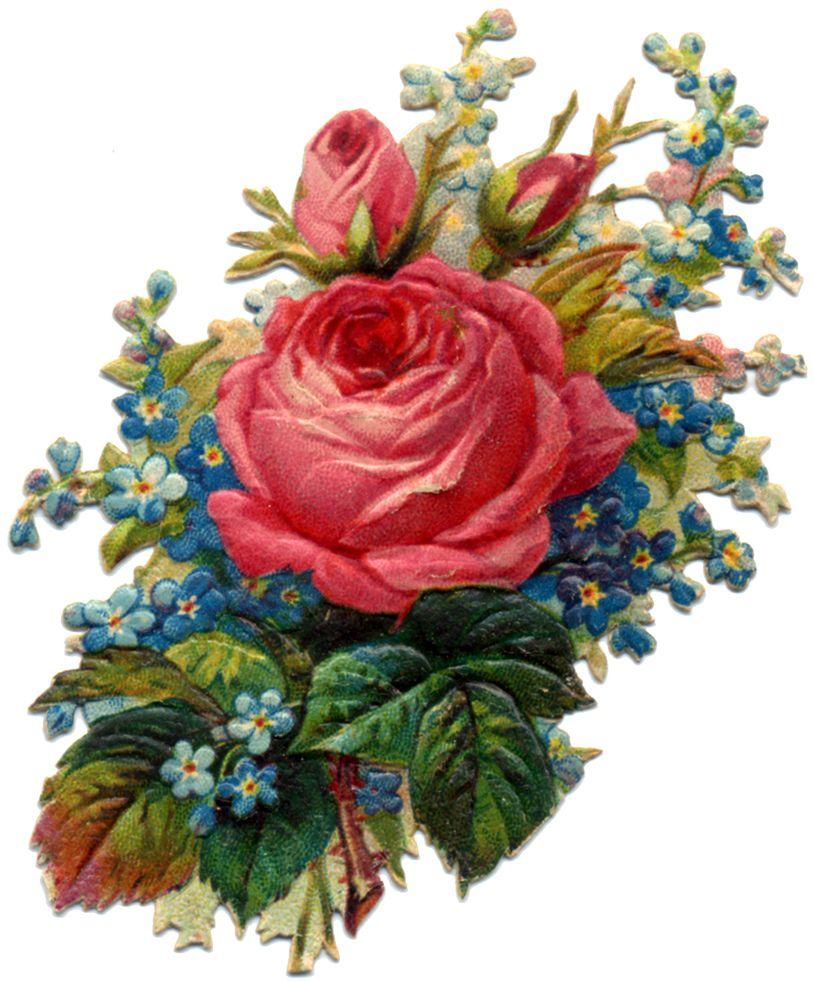 Vintage victorian flowers clipart png black and white Victorian Flower Scrap | Ephemera | Victorian flowers ... png black and white
