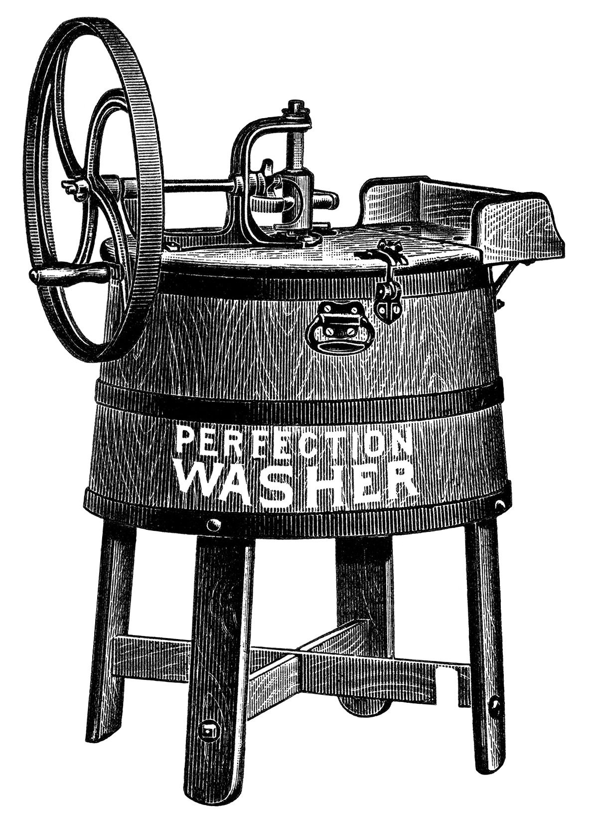 Vintage washing machine clipart picture black and white old catalogue ad, vintage laundry clip art, antique washing ... picture black and white