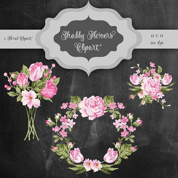 Vintage wedding bouquet clipart banner free download Shabby Flowers Digital Clip Art - Vintage Flower Bouquet ... banner free download