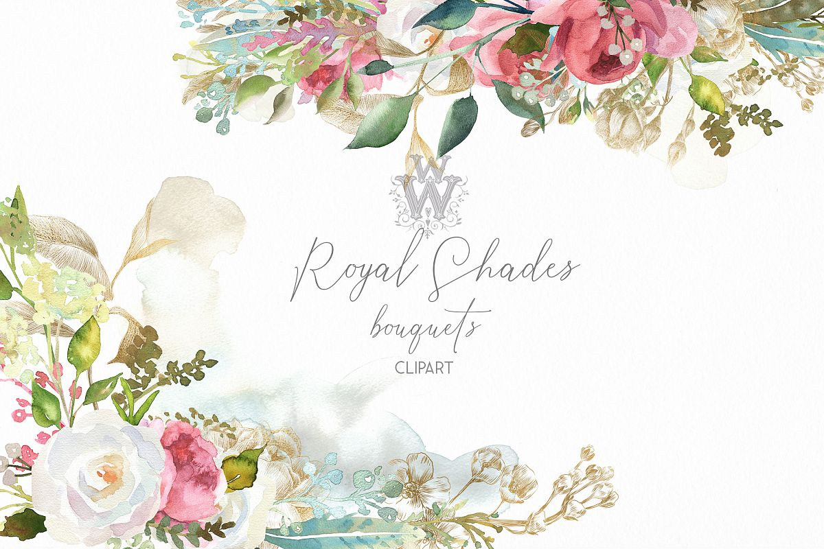 Vintage wedding bouquet clipart banner transparent Watercolor rustic wedding bouquets clipart, vintage wreath banner transparent