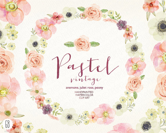 Vintage wedding bouquet clipart graphic black and white library Watercolor Pastel Wreath, Juliet Roses, Anemone, Peony ... graphic black and white library