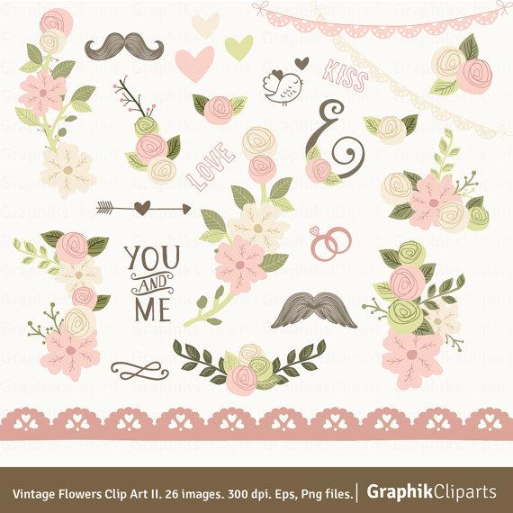 Vintage wedding bouquet clipart svg transparent Vintage Flowers Clip Art II. Pink Floral Clipart. Floral ... svg transparent