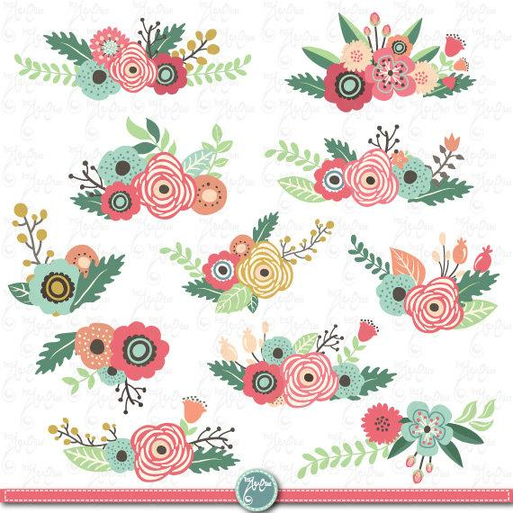 Vintage wedding bouquet clipart graphic free stock Flowers Clipart Pack \