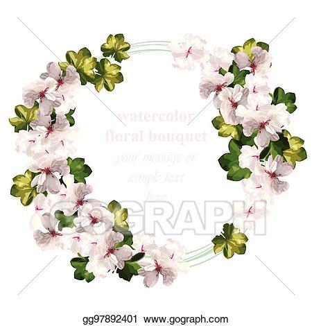 Vintage wedding bouquet clipart svg stock Vector Illustration - Cherry flowers wreath watercolor ... svg stock