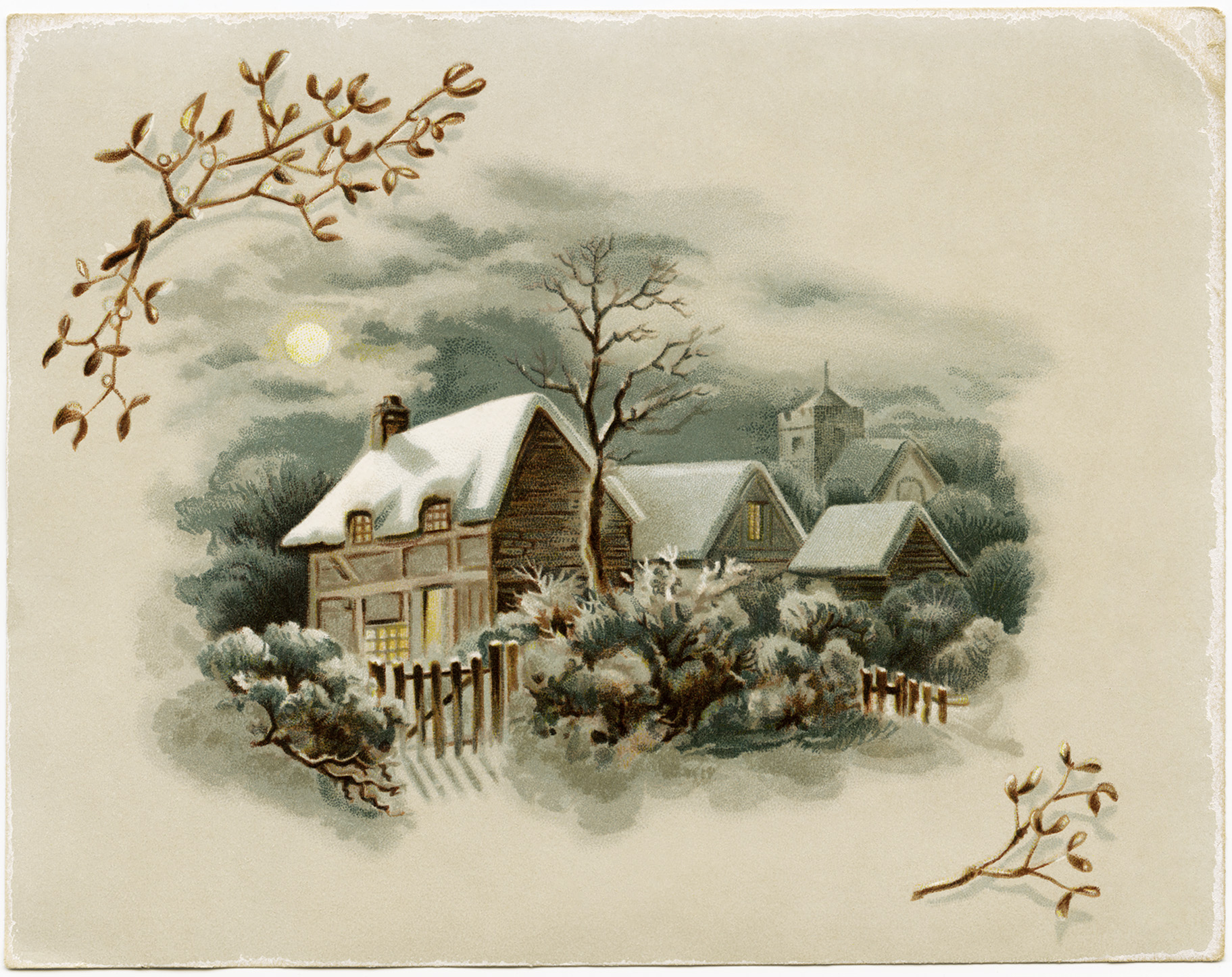 Vintage winter scene clipart jpg black and white Winter Scene Victorian Card ~ Free Download - Old Design ... jpg black and white