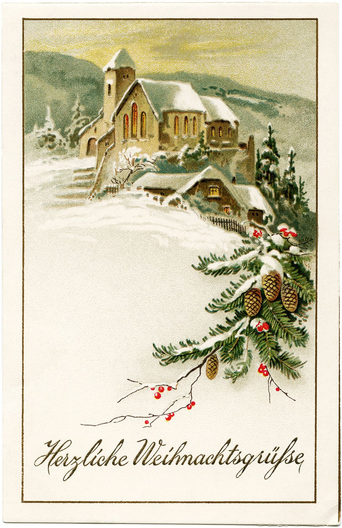 Vintage winter scene clipart graphic transparent German Christmas postcard, vintage Christmas clip art, snowy ... graphic transparent
