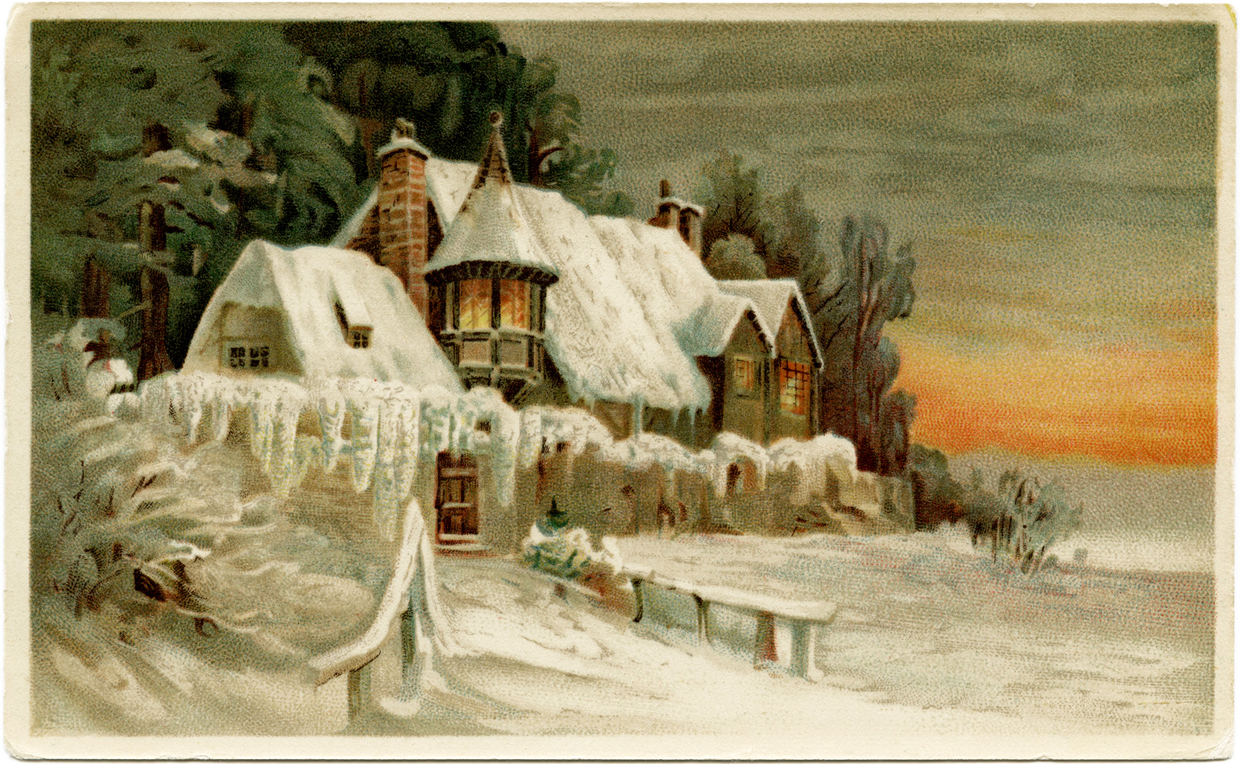 Vintage winter scene clipart jpg transparent library Vintage Postcard Ephemera Winter - Old Design Shop Blog jpg transparent library