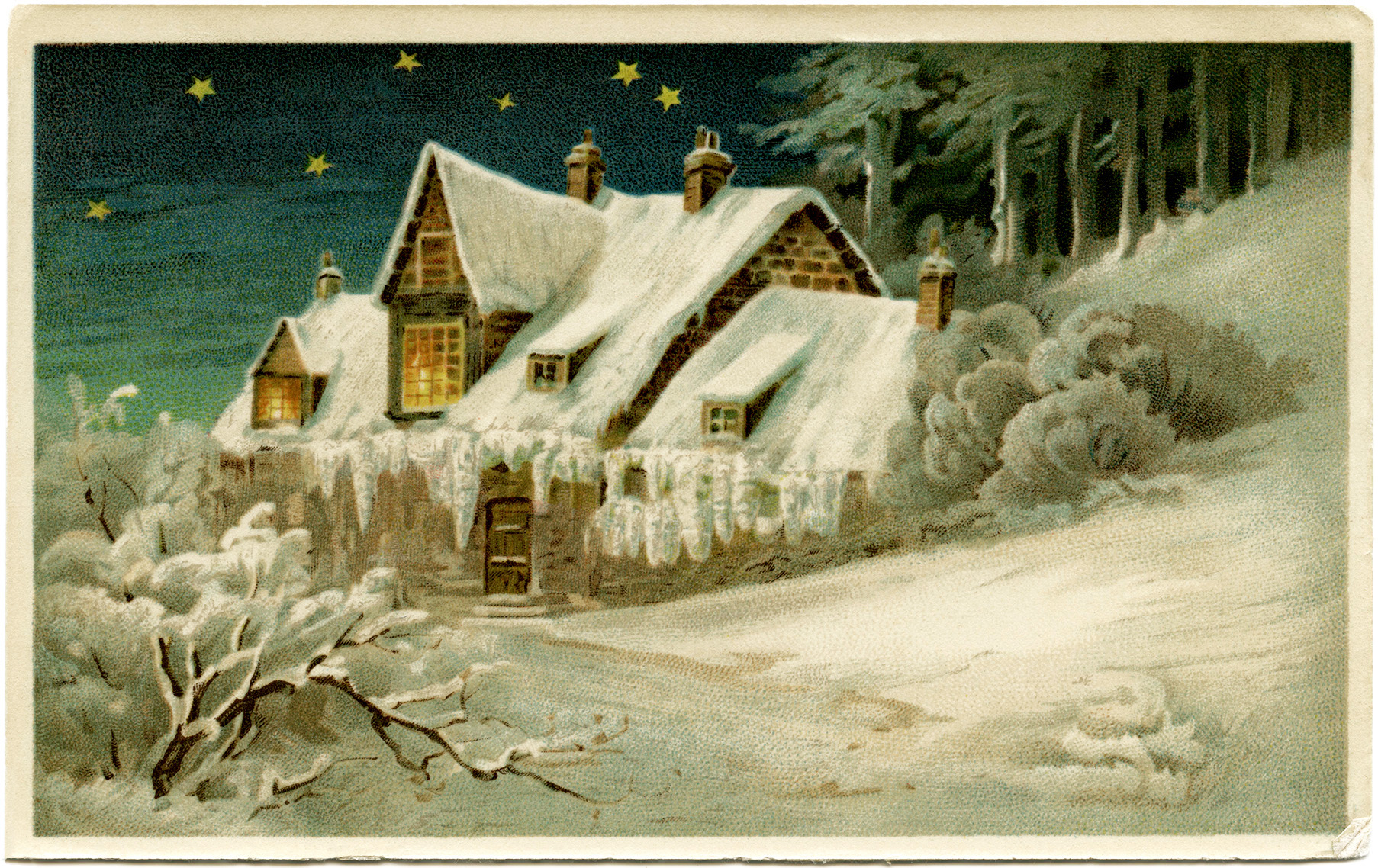 Vintage winter scene clipart picture stock Vintage Country Winter Scene - Old Design Shop Blog picture stock