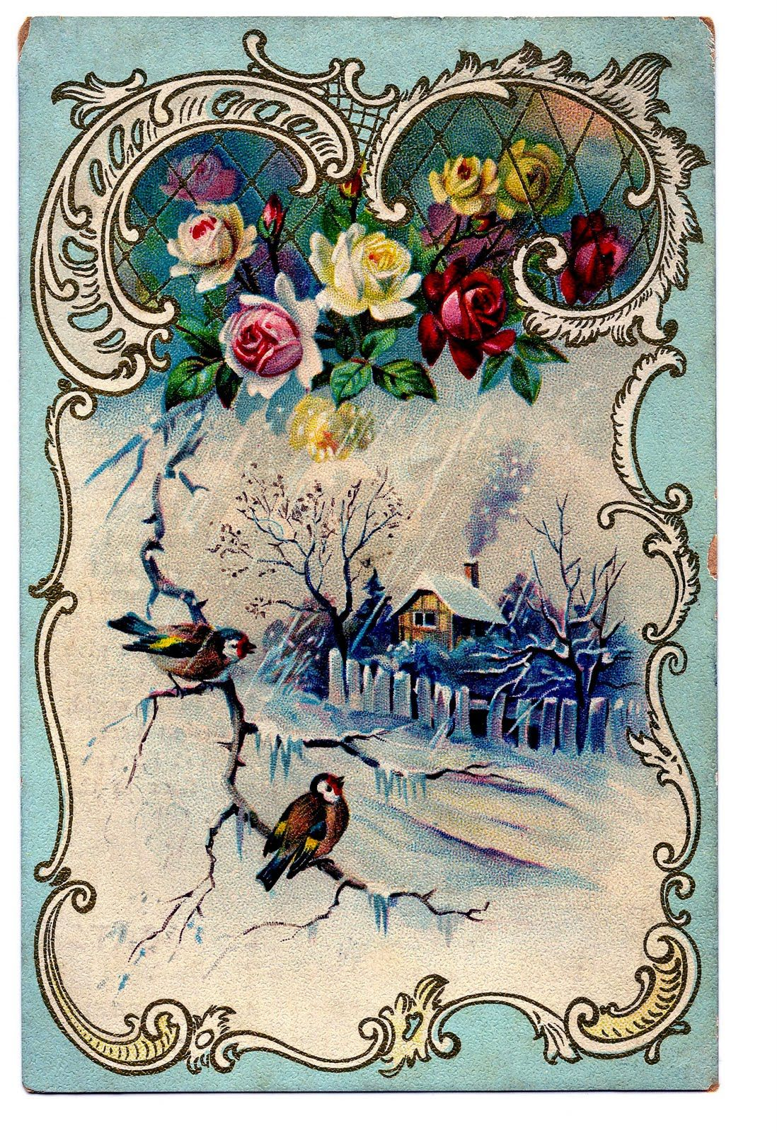 Vintage winter scene clipart banner library library Victorian Clip Art - Beautiful Winter Scene + French Frame ... banner library library