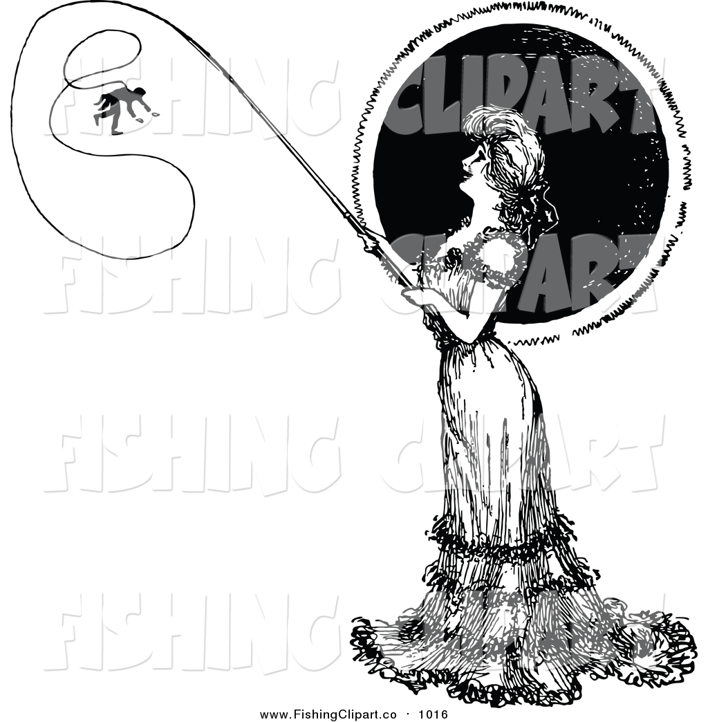 Vintage woman fishing clipart jpg freeuse stock Clip Art of a Vintage Black and White Woman Catching a Man ... jpg freeuse stock