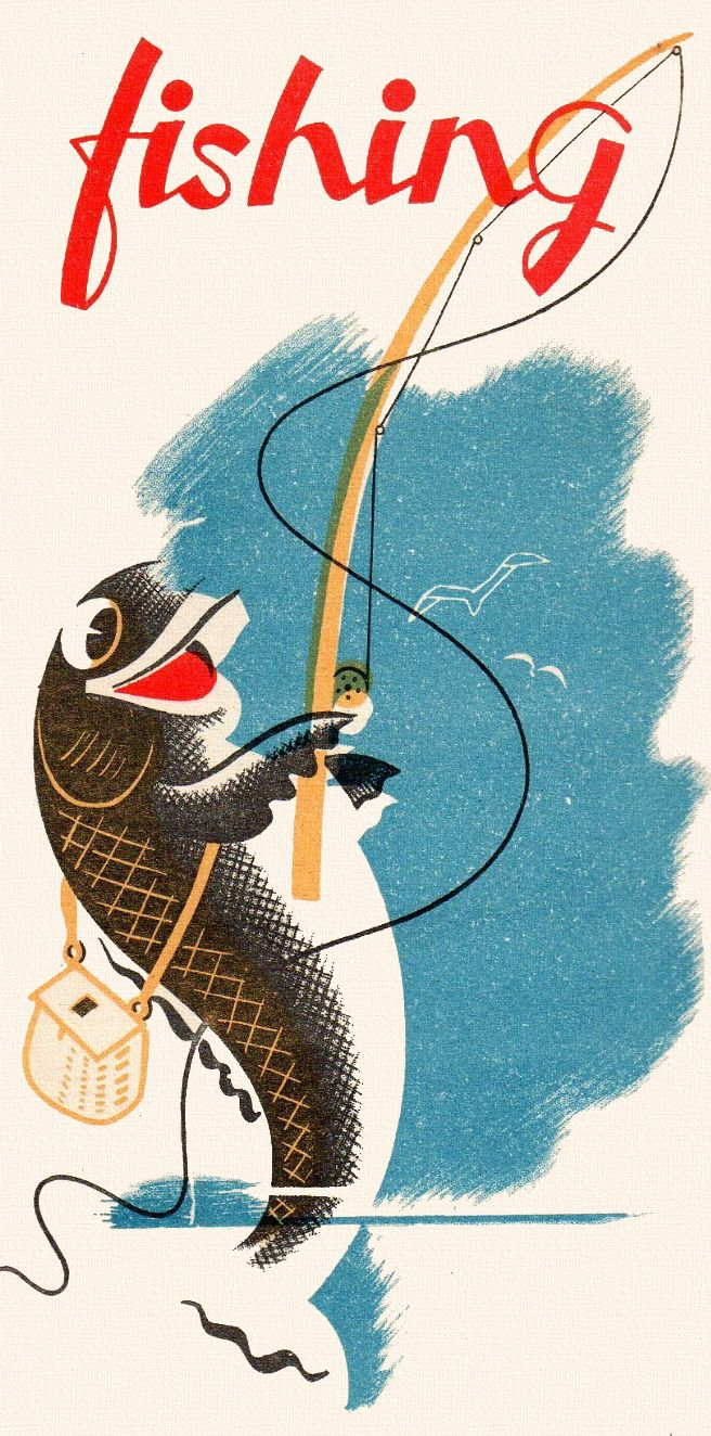 Vintage woman fishing clipart banner library library vintage fishing poster | Only Vintage | Fish, Vintage ... banner library library