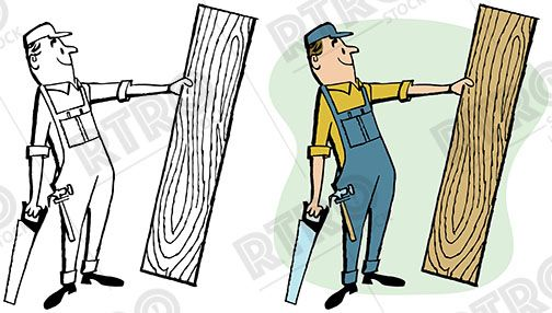 Vintage woodworking clipart stock A carpenter with a saw holding up a piece of raw wood ... stock