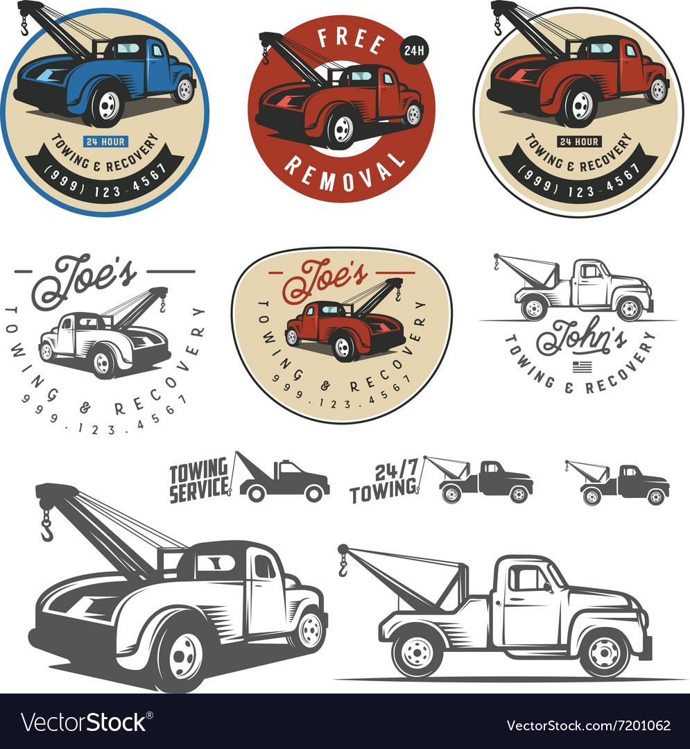 Vintage wrecker clipart clip royalty free library Vintage car tow truck emblems and logos clip royalty free library