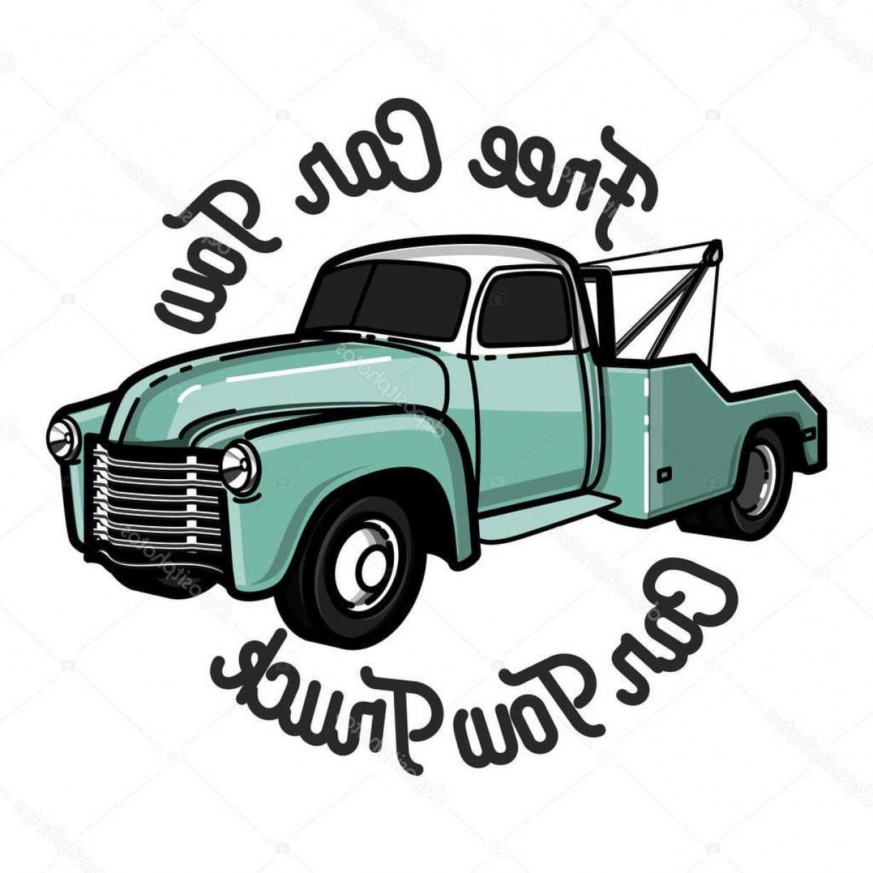 Vintage wrecker clipart picture library stock Stock Illustration Color Vintage Car Tow Truck   SOIDERGI picture library stock