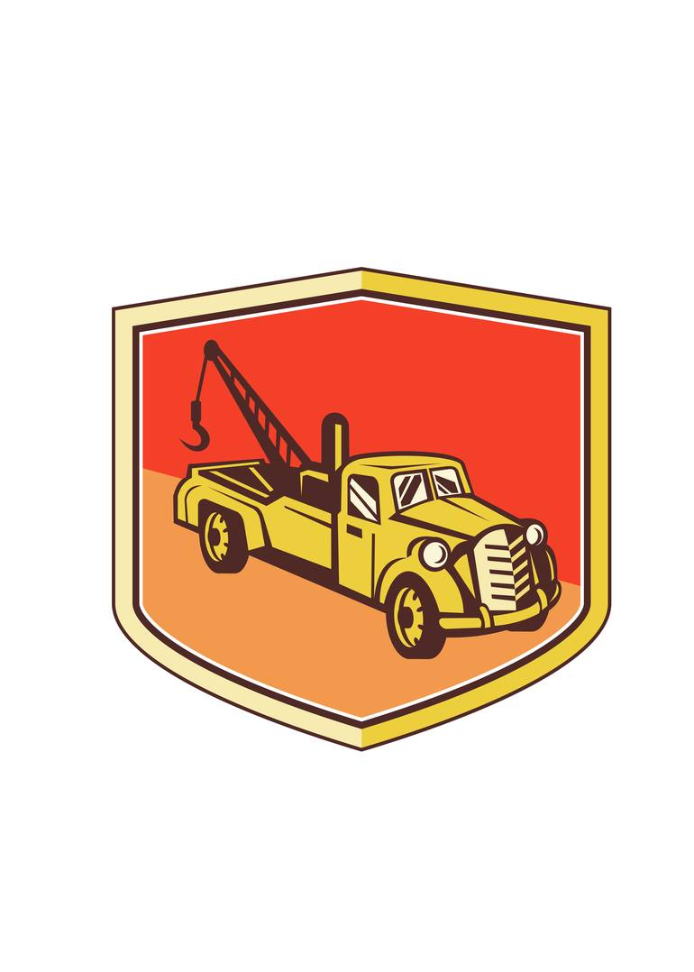 Vintage wrecker clipart freeuse Vintage Tow Truck Wrecker Shield Retro freeuse