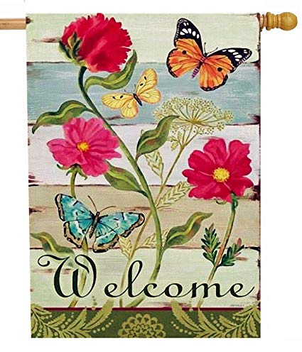 Vintage zinnia clipart picture transparent library Furiaz Summer Flower Zinnia 28 x 40 House Flag Welcome Quote Butterfly  Double Sided, Home Vintage Floral Burlap Garden Yard Decoration, Rustic  Spring ... picture transparent library