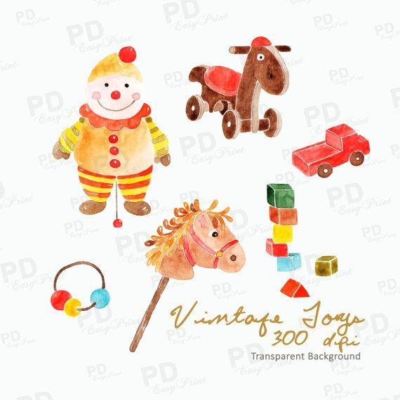 Vintage3 christmas toys clipart image library Watercolor Hand Painted Vintage Toys Clipart, Christmas Toys ... image library