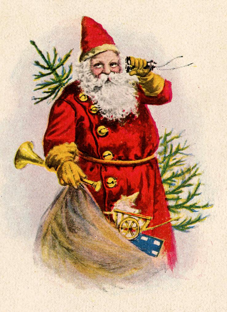 Vintage3 christmas toys clipart banner download Vintage Christmas Clip Art - Santa with Toys - The Graphics ... banner download