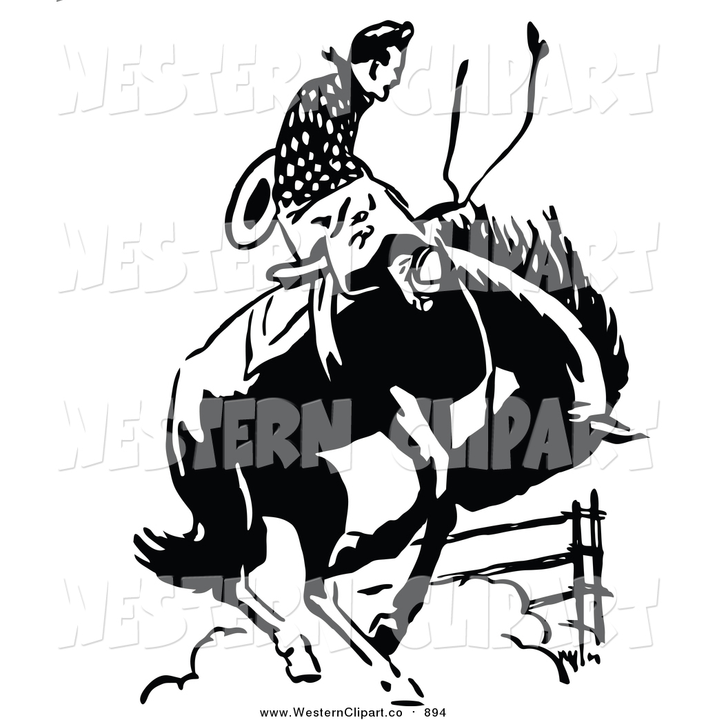 Vintagerodeo clipart black and white library Vector Clip Art of a Retro Black and White Rodeo Cowboy on a ... black and white library